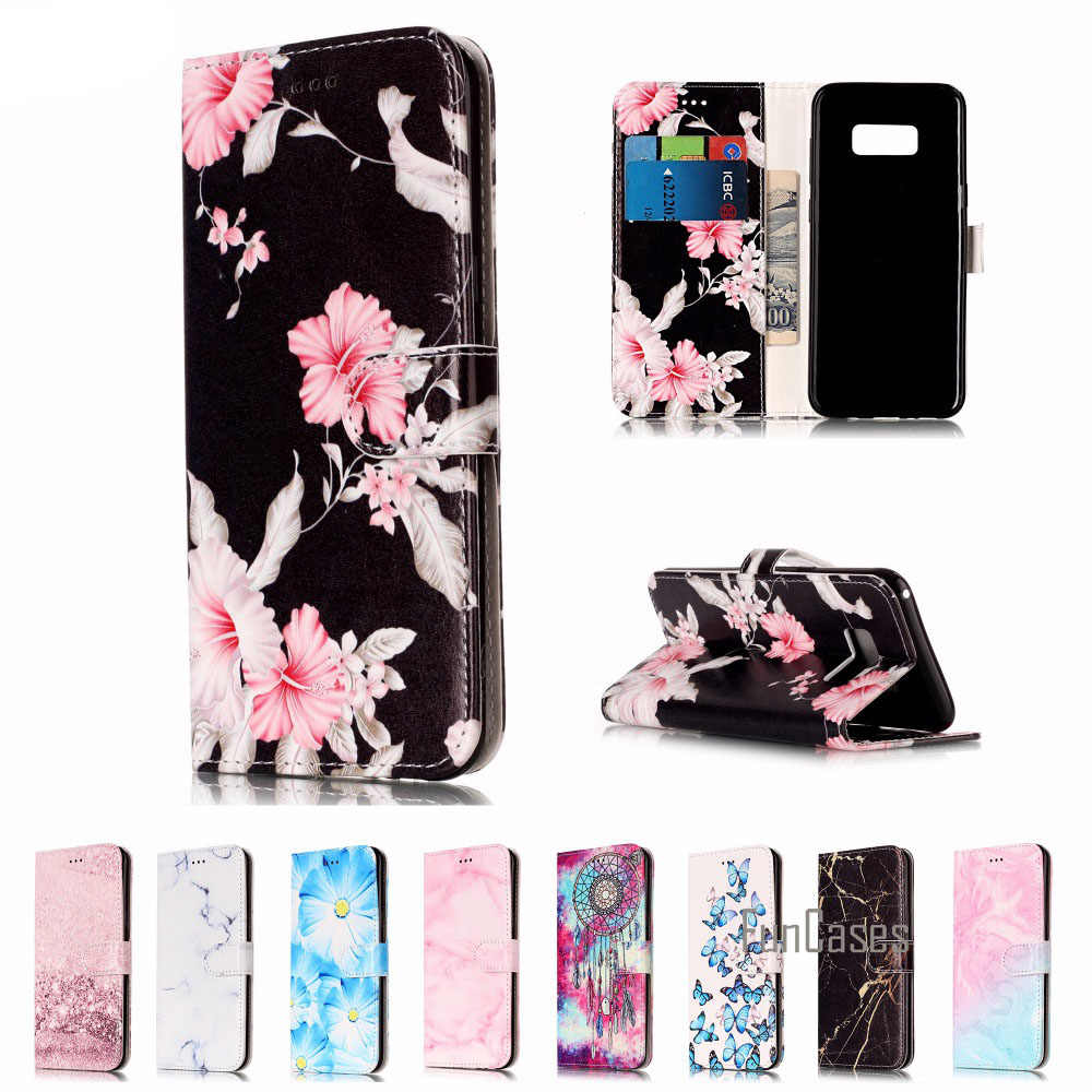 Fashion Flower Marble Leather Case For Samsung S8 Plus S7 S6 edge S5 A5 A3 J7 J5 Wallet Case with Card Holder Cover Back