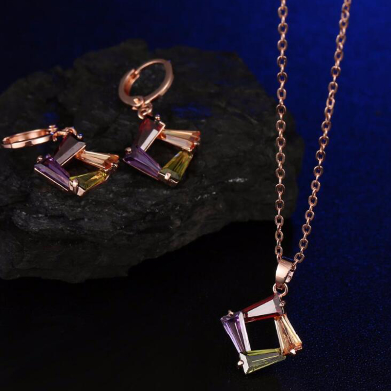 Simple Zircon Jewelry Sets Necklace And Drop Earrings With Two Pieces Of Crystal Jewelry For Women Fashion Gifts in Jewelry Sets from Jewelry Accessories