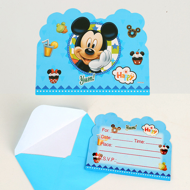 6pcs Pack Disney Mickey Mouse Invitation Card Cartoon Design