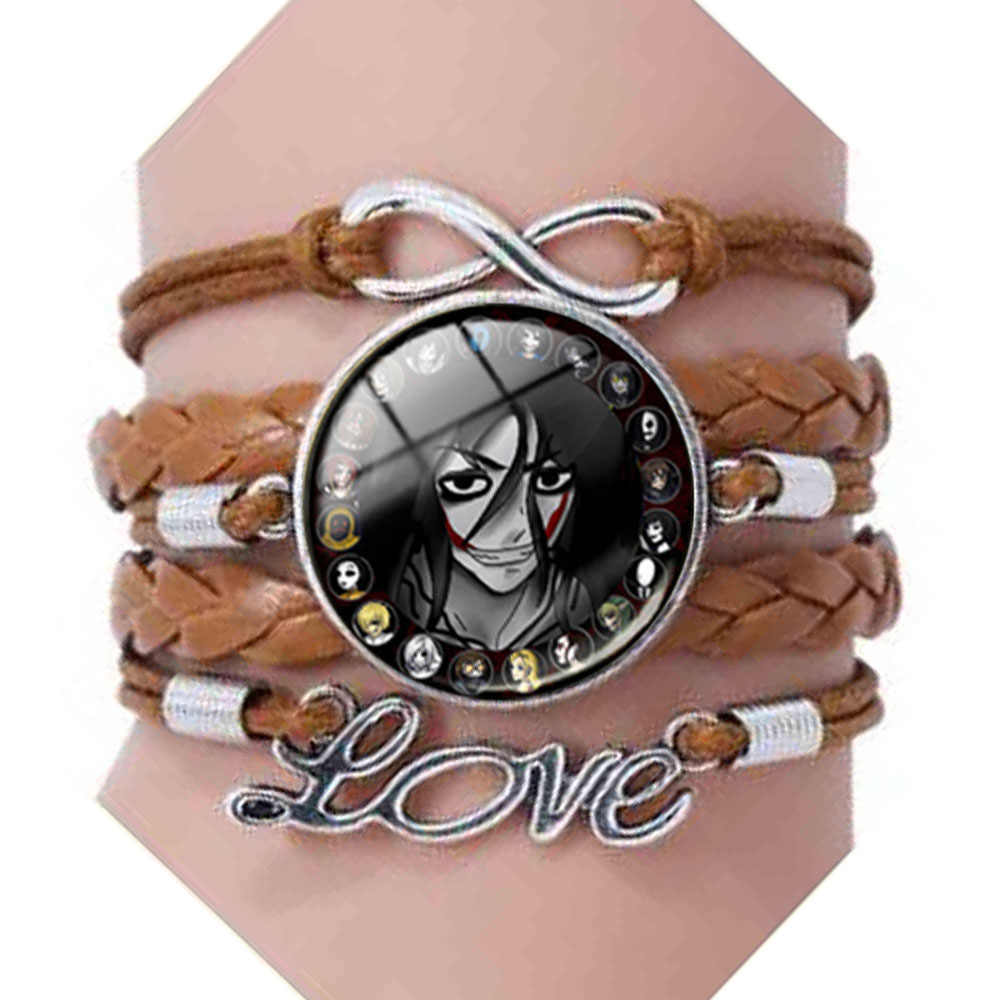 QiYuFang Creepypasta CREEPY PASTA TICCI TOBY Bracelets Glass Bronze bracelet chain JEFF THE KILLER With Love Pandent Gift Mens