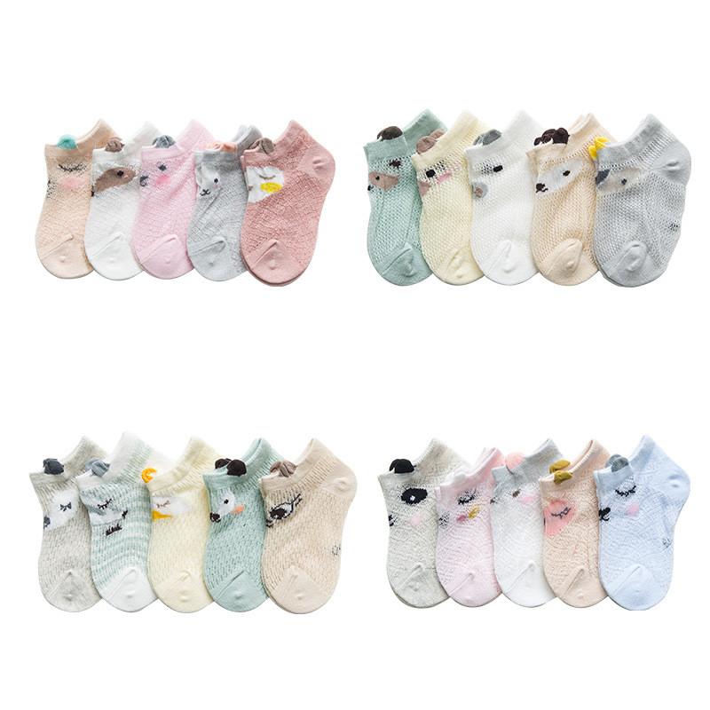 Baby Socks Newborn 5Pairs/lot Summer Mesh Thin Baby Socks for Girls Cotton Infant Casual Boy Girls Toddler Socks Cartoon