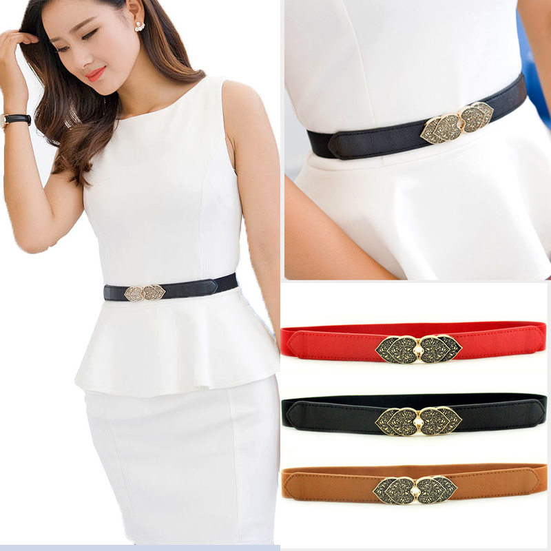 New Retro Peach Heart Women's Decorative Slim Elastic Korean Women's Waist Corset Belt  Wide Belt  Glamaker  Elastic Belt