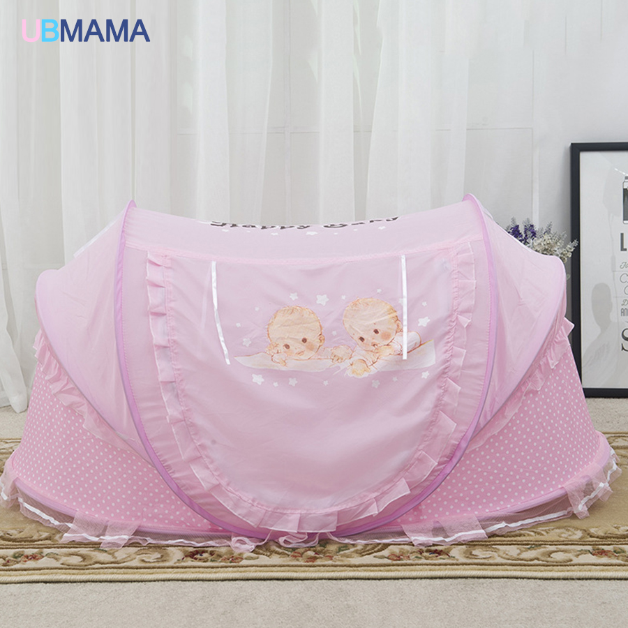 Red blue lace Double protection baby bed with mosquito net portable baby bed game cotton folding bed with children bed cover