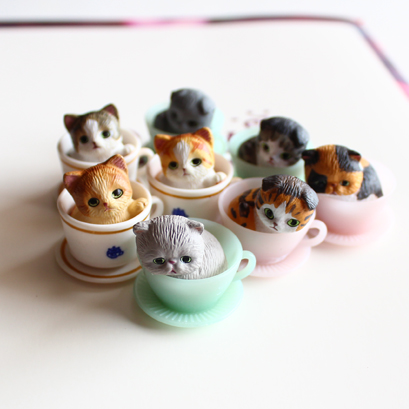 8pcs lot 3CM mini cute kawaii original cup cat pet action figure set best kids font