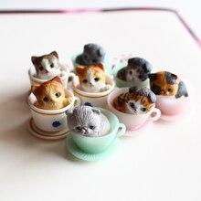 8pcs lot 3CM mini cute kawaii original cup cat pet action figure set best kids toys