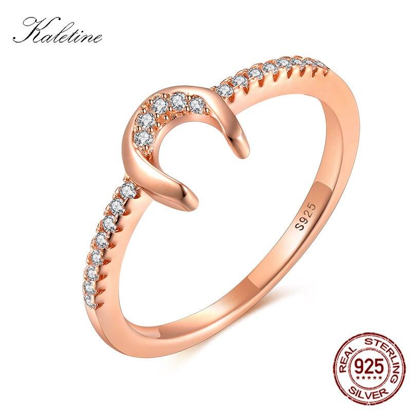 RSZY1067 Modo 925 Sterling Silver Jewelry Argento 100% Oro Rosa Tone Bling Bling CZ A Ferro di Cavallo U Piccolo Anello di Barretta per ragazza