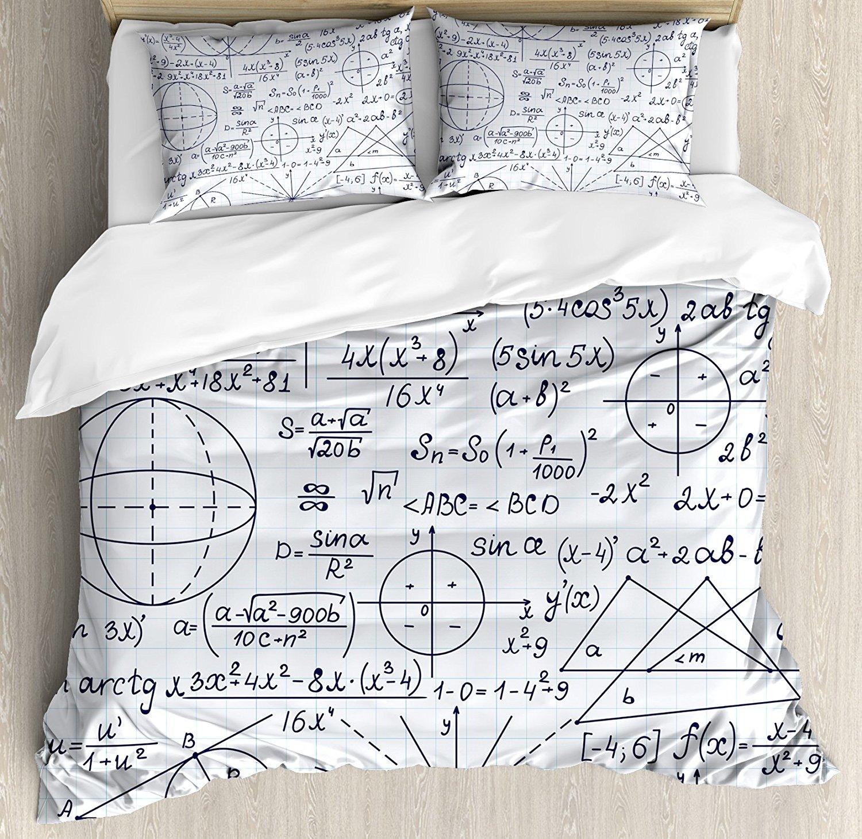 modern duvet cover set queen size school smart student math geometry