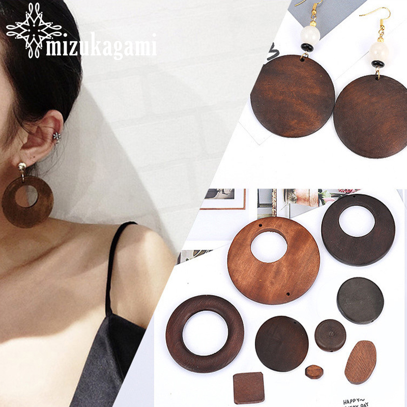 2pcs/lot Fashion Woodiness Stud Earrings Accessories Retro Geometric Round Shape Earrings Connector For DIY Earrings Accessories