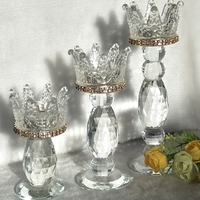 Crown Candlestick Candle Holder Transparent Glass Crystal Wedding Home Decor Big Tealight Candle Stand