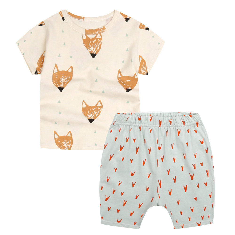 Boys Girls Clothes Sets For Kids Cute Fox Print T Shirt + Shorts Baby Boys Sport Clothing 2pcs For Children Suit