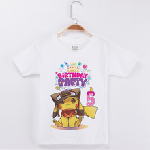 Limited Time Discount Kids Happy Birthday t-Shirt Cotton Fashion White Boys Tees Tops Pokemon Print Child Clothes Party Tshirts