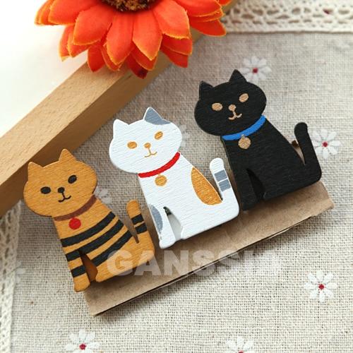 3pcs/set Cat Design Wooden Clips Kawaii Memo Clip Office Material Gift Zakka School Kawaii Stationery Supplies (ss-1423)