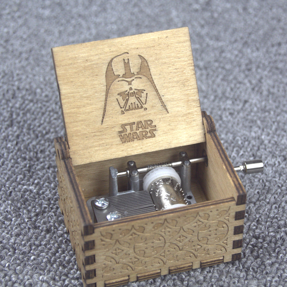 Star Wars Theme Handmade Engraved Wooden Music Box Crafts Cosplay Xmas Gifts