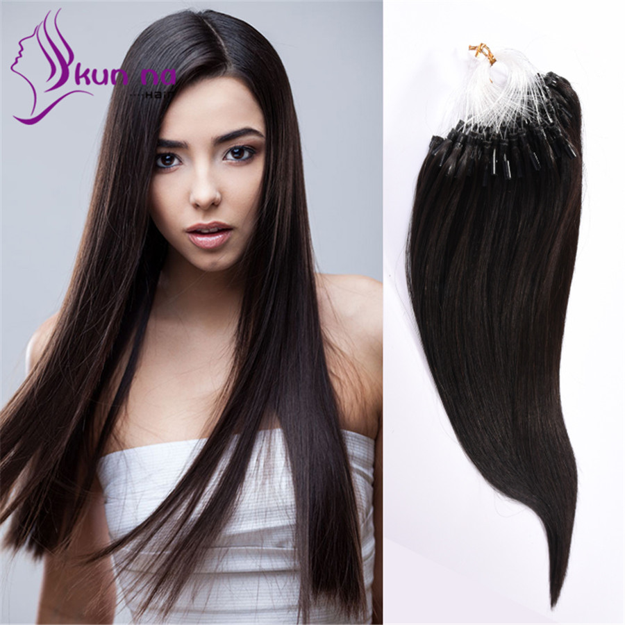 In Stock Silky Straight Micro Loop Ring Hair Extensions 18 22