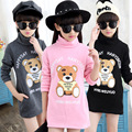 Children clothes spring Sweatshirts girls Little bear Cartoon printing Kids long tops Turtle neck double colors long sleeve 713