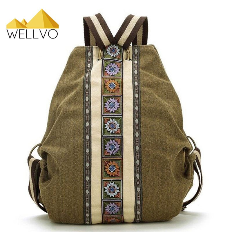 Wellvo Ethnic Canvas Backpack Women Embroidered Floral Backpacks Large Bucket Shoulder Bag Girls Patchwork School Bags XA29C 2016 tribal ethnic embroidered floral canvas backpack women travel rucksack school bag for teenagers femme aztec backpack li82