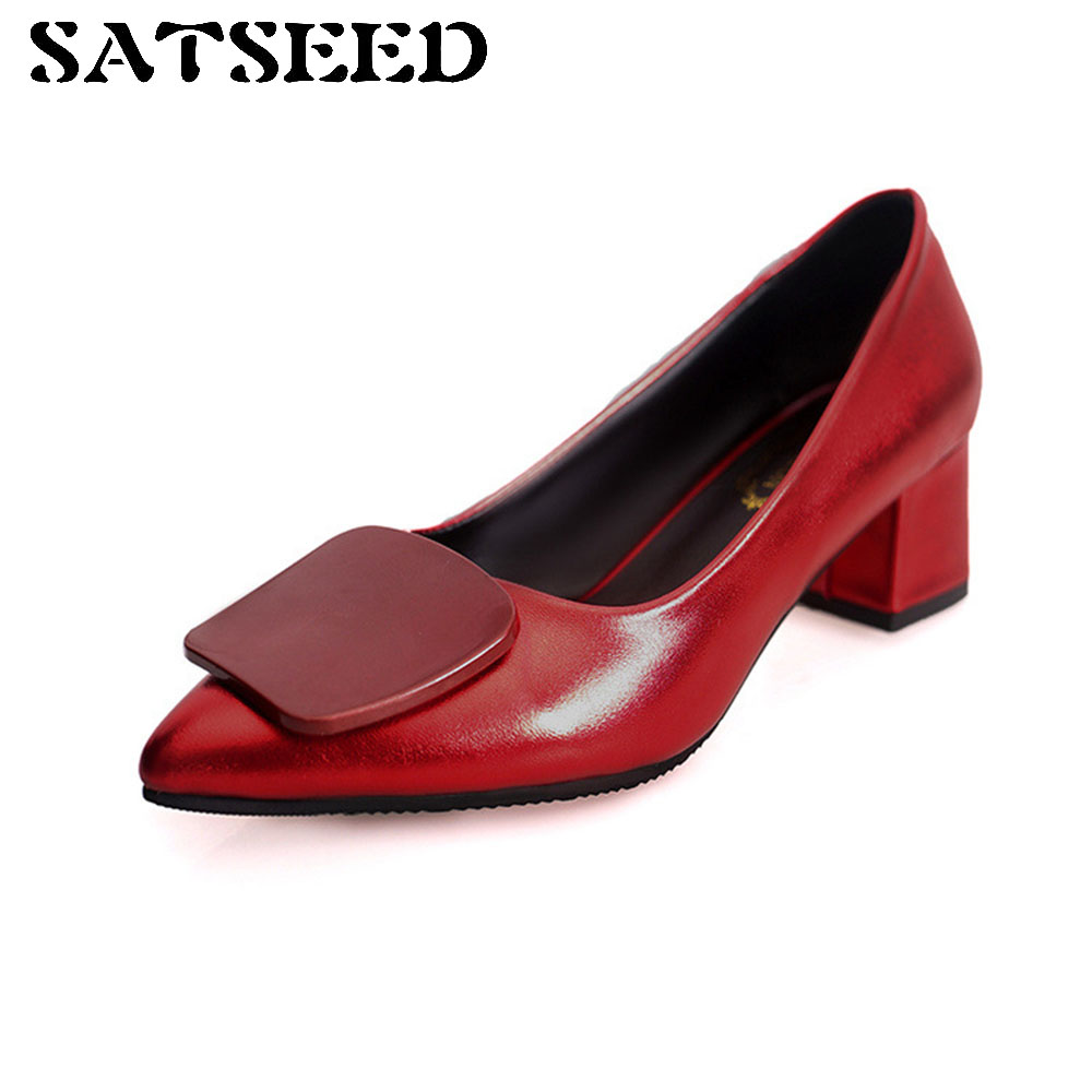 Superstar Spring Pumps 2018 New Women's Shoes Red Pointed Toe Pumps Office Shoes Black Middle Heel Shallow Career Shoes Fashion xiaying smile new spring autumn women pumps british style fashion office career ladies shoes thin heel round toe shallow pumps