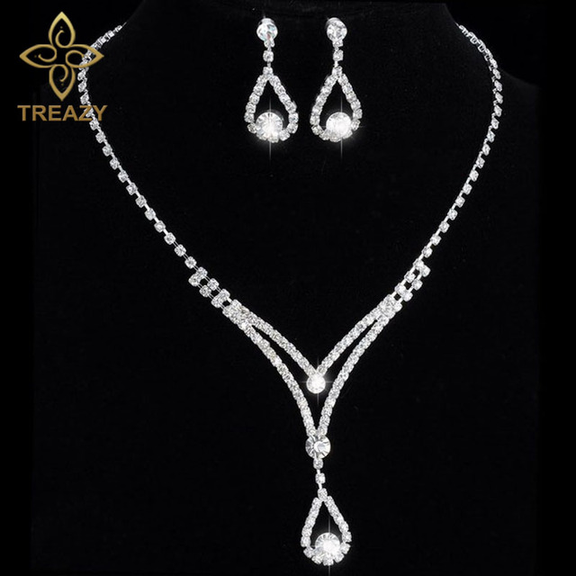 Treazy Women Beautiful V Shape Teardrop Crystal Necklace Earrings Set Bridal Bridesmaid Wedding Jewelry Sets Night