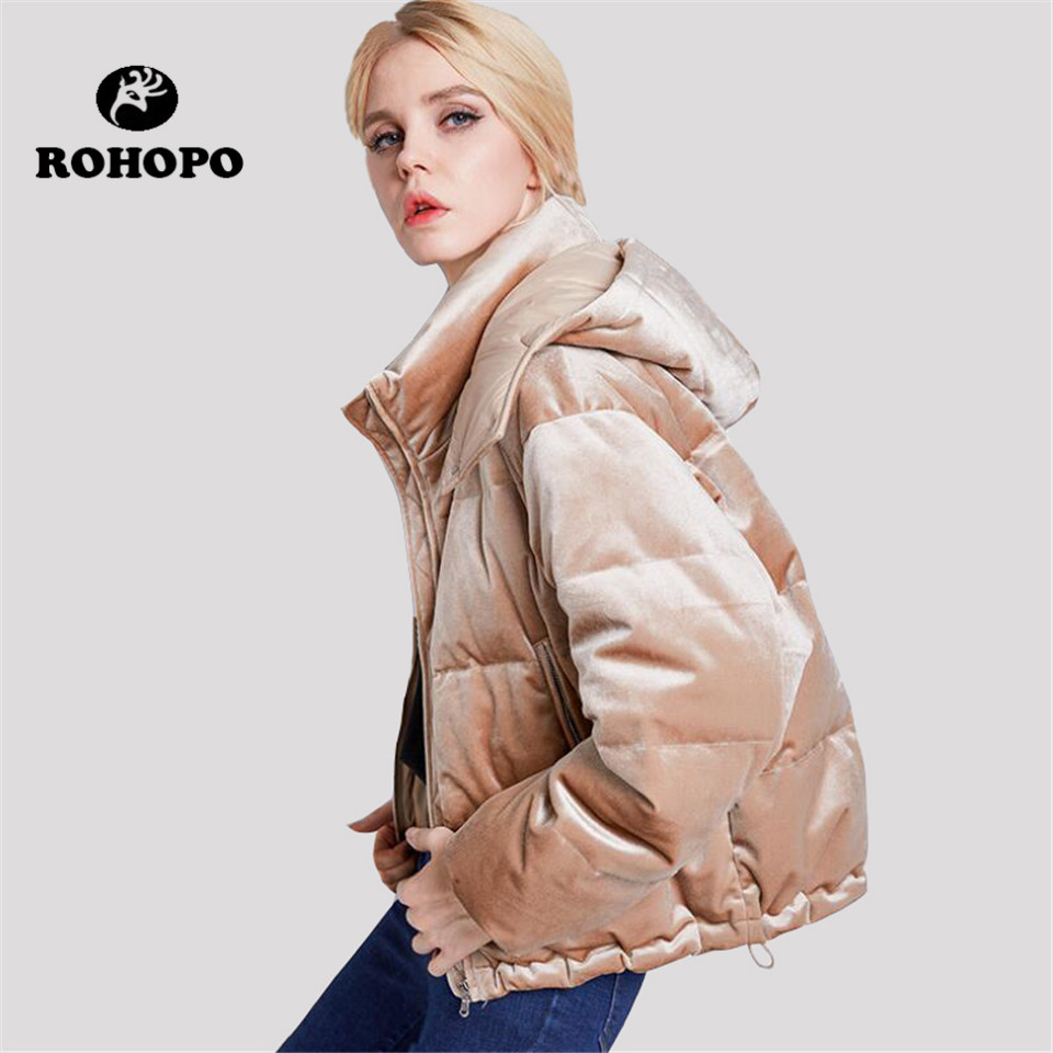 ROHOPO Brand Hooded velvet keep warm   down   jacket female,Noble preppy style duck   down   quality   down     coat  ,pink/khaki slim jacket