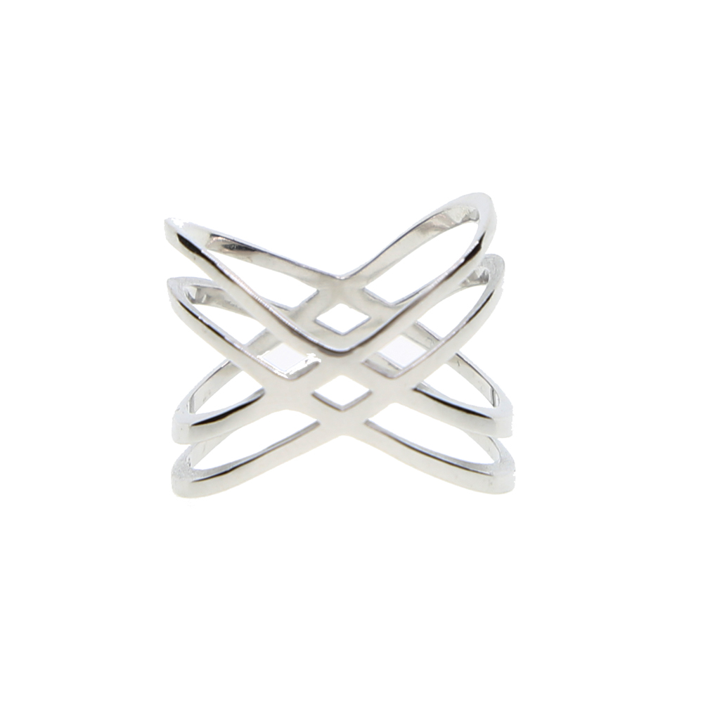 925 sterling silver high polished big HIGH cross criss women finger rings plain no stone design X ladies silver ring