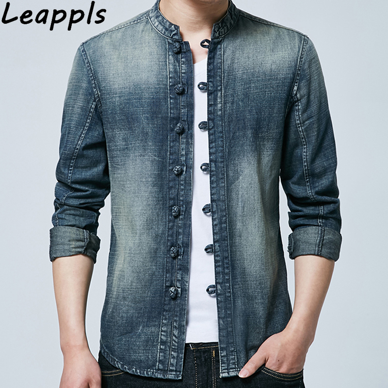leappls 4XL mens denim blazers and suit jackets fashion slim fit Chinese Style Plate buckle jeans blazer masculino 2018 autumn