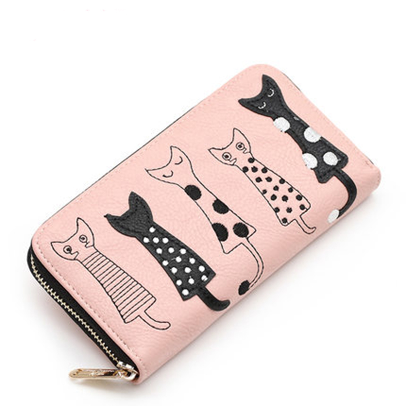 2018 New fashion Women Wallets female cards holder cute cartoon cats leather wallet coin purses girls clutch Long zipper Wallet new brand colors purse plaid leather zipper wallet cards holder wallet for girls women wallet