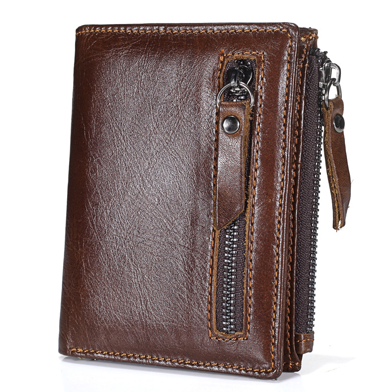 High Quality Cowhide Genuine Leather Men Wallet Short Coin Purse Small Vintage Wallet Zipper Pocket Card Holder Brand Designer