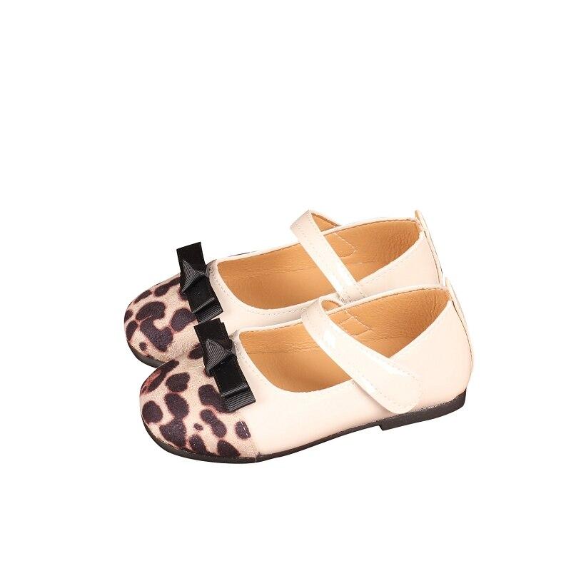2019New Leopard Bowknot Princess Leather Girls Anti-Slippery Shoes Children Sneaker Girl Kids