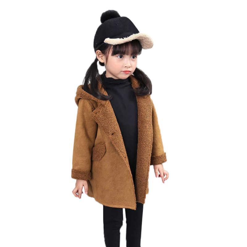 Милый щенок с капюшоном пальто для девочек весенний Топ зимняя, теплая куртка для детей мультфильм щенка Вышивка одноцветное Цвет девушка п...