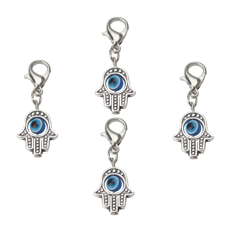 Silver Hamsa and Enamel on extended Key Ring Great Gift for Protection
