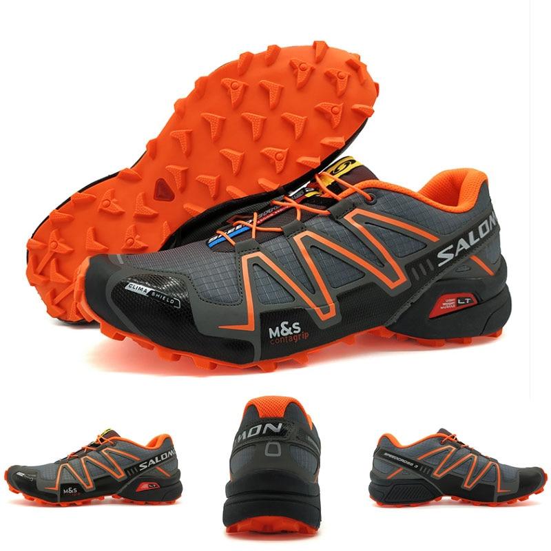 Nouveau Salomon Speed Cross 3 CS III Anti-slip Hommes Sport Chaussures Lumière Poids Mâle Chaussures de Course Noir Orange nouvelle Arrivée