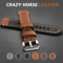 Genuine Leather Watch band Crazy Horse Wristband for Samsung Gear S3 S2 Sport Band with Panerai Clasp for 18 20 22 Width Strap