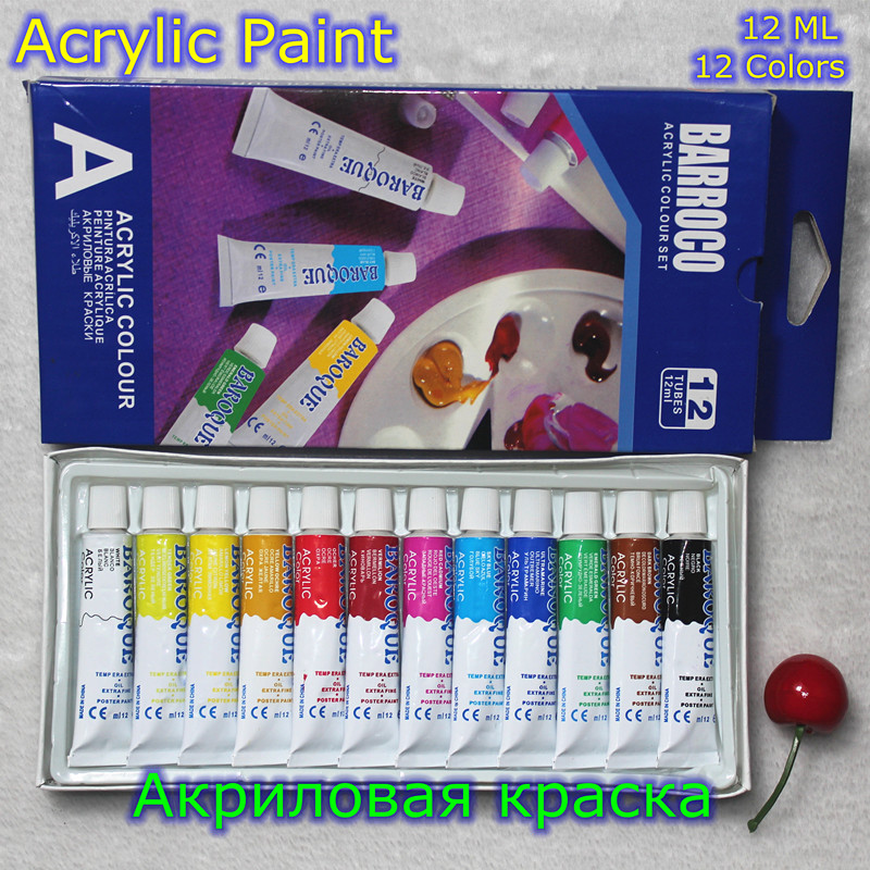 12 Colors Acrylic Paint Color Set Professional Acrylic Paints Pigment for Artists 12 Tubes 12ML Nail Art Painting Drawing Tool цены