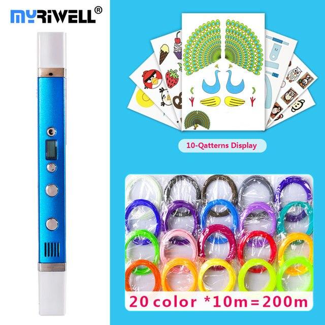 Caneta 3d myriwell canetas 3d, display led, carregamento usb, 3 d pen3d modelo smart3d impressão caneta melhor presente para Kidspen 3d impressão caneta 3 d