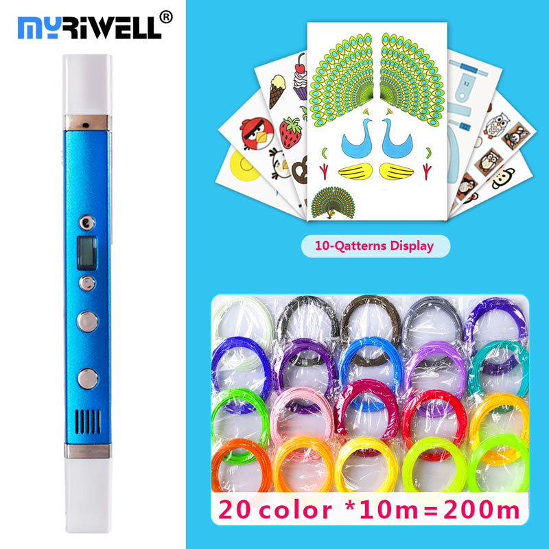 Myriwell 3d-Pen Led-Display Best-Gift Smart3d-Printing Pen3d-Model 3-D for Usb-Charging title=