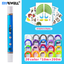 myriwell 3d pen 3d pens,LED display,USB Charging,3 d pen3d model Smart3d printing pen Best Gift for Kidspen 3d print pen 3 d