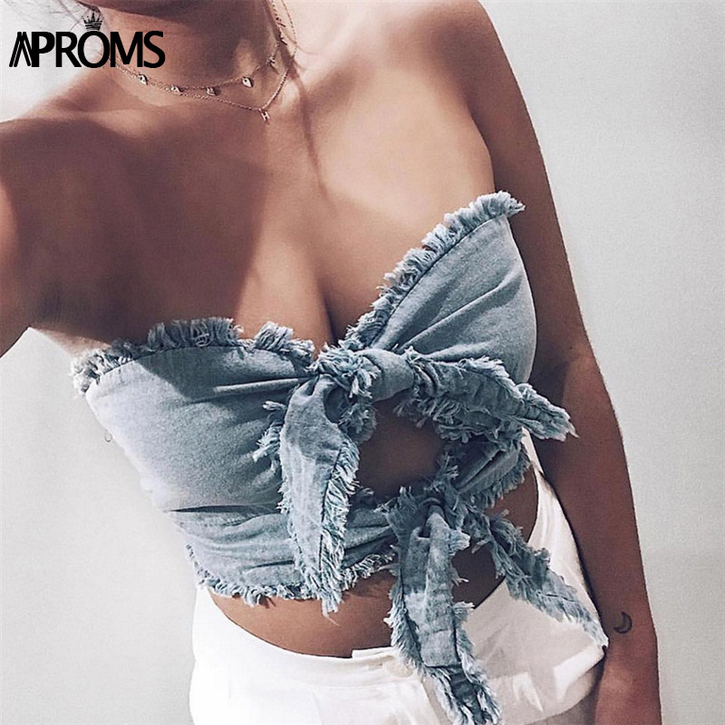 Aproms Blue Denim Trim Tank Tops Women Self Bow Tie Slim Crop Top Summer Short Little Camis 90s Cool Girls Streetwear Camisole