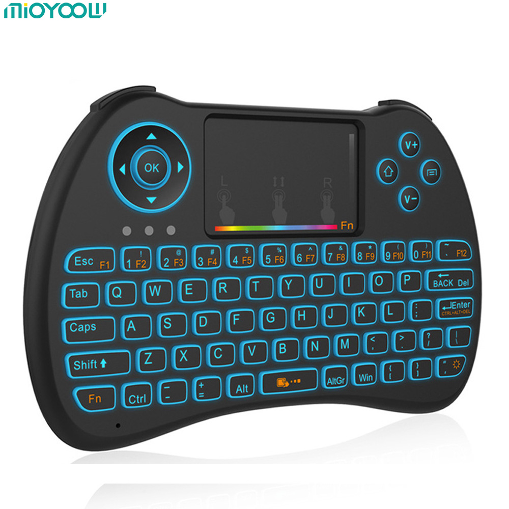 Mini Wireless Keyboard 2.4GHz Russian English Air Mouse Remote Control Touchpad Backlight For Android TV Box Notebook Tablet PC