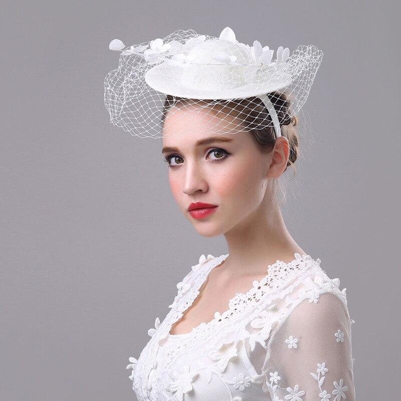 Nouveau bandeau main rétro lin grand filet fil tête fleur européenne honte coiffure