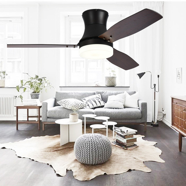 Aliexpress American Retro Wood Leaf Ceiling Fan Lamp Living Room Dining Cafe Simple Modern Led Dimmable Light Free Shipping From