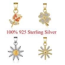 100% 925 Sterling Silver Lucky Clover Sun Flower Daisy Small Charm Pendant for Women's Necklace Jewelry Making Charms Gift(China)
