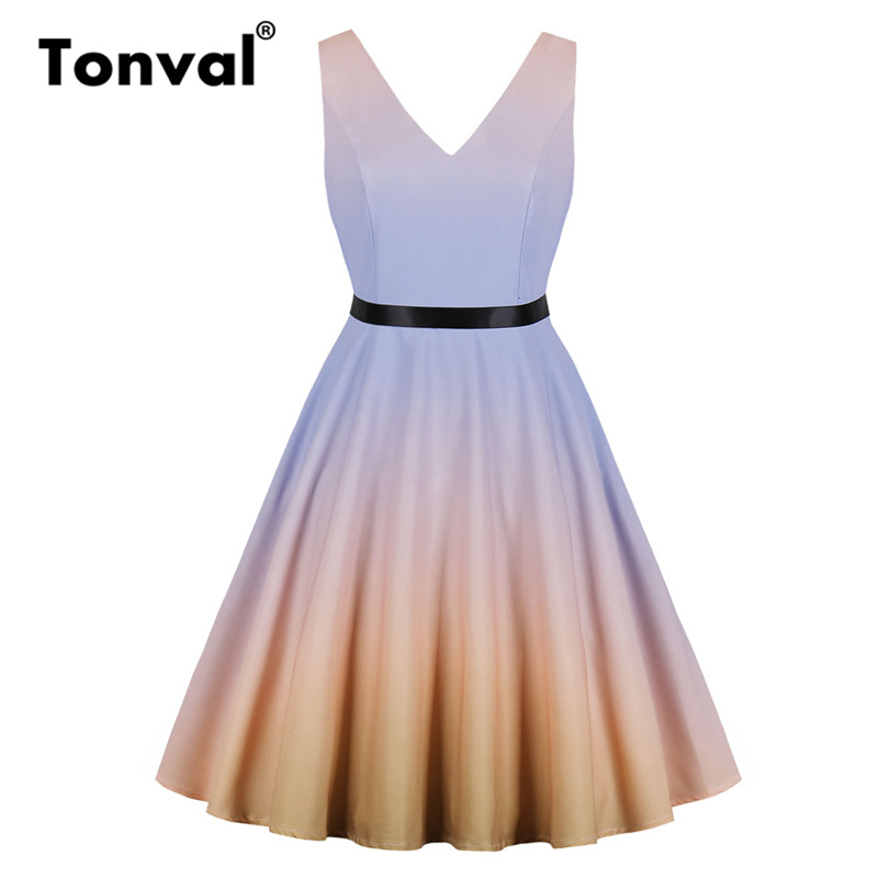 ff327c0782d Tonval Multicolor Color Gradient A Line Skater Dress Sleeveless Bow Tie  Back Summer Dresses Women Party Sexy V Neck Dress