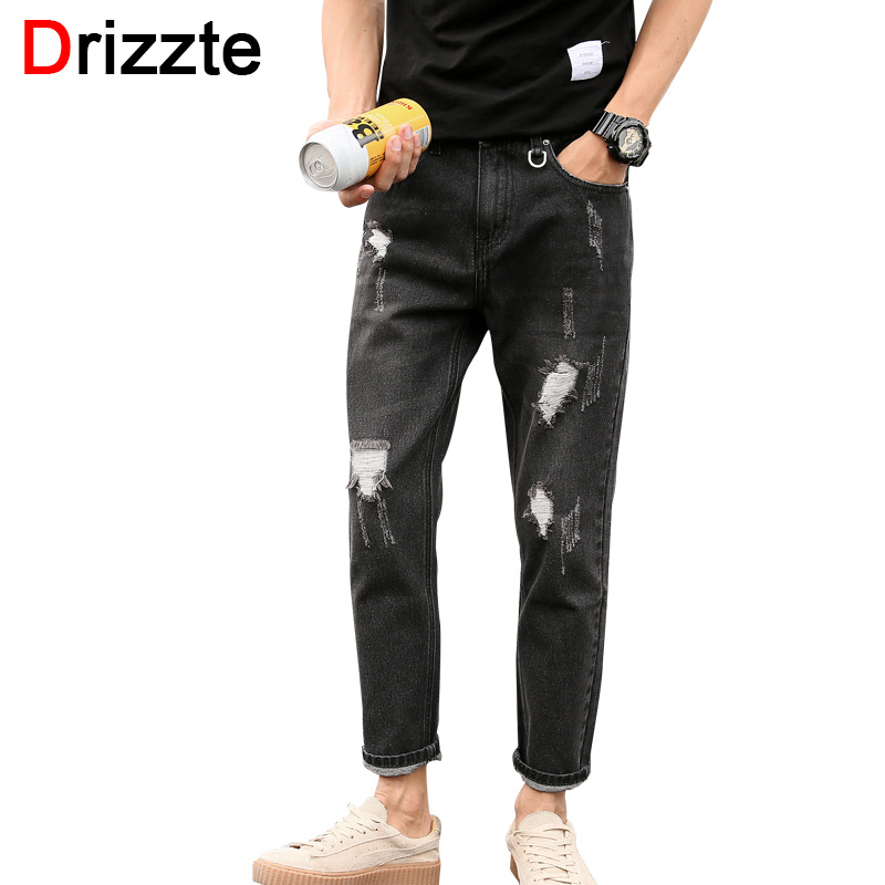 Drizzte Boys Black Grey Ripped Jeans Distress Holes Ankle Jeans Men Denim Jean Trousers Pants