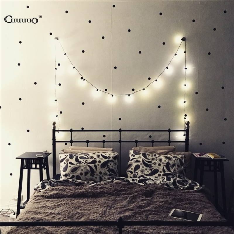 Us 3 04 39 Off Black Gold Pink Polka Dots Star Wall Sticker Baby Nursery Stickers Kids Children Room Decals Home Decor Diy Vinyl Art In