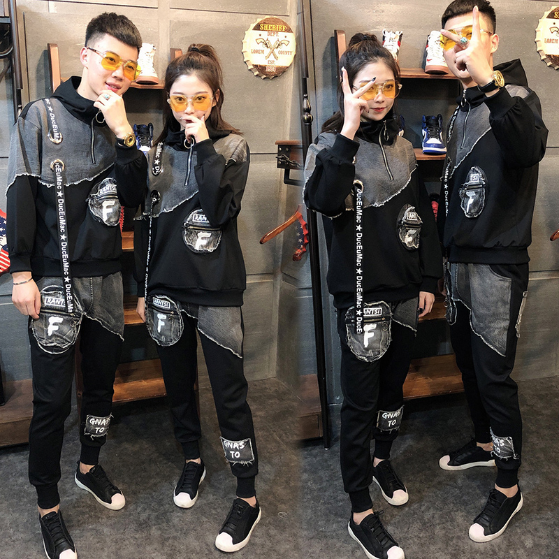 Tracksuit For Womens 2019 Spring Autumn Casual Fashion Hooded Couple Suit Set Long-sleeved Color Matching Pullover Two Piece Set