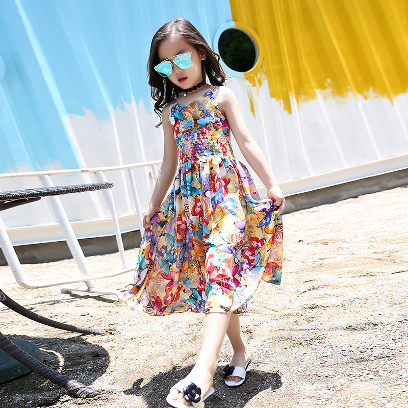 Kids Bohemian Dresses For Girls Long Beach Dress Casual Sleeveless Vests Dress Summer Children Jumpsuits 4 6 8 10 12 Years new girls bohemia children dresses summer beach dress floral v neck sleeveless dress jumpsuits maxi dress 4 6 8 10 12 14 years