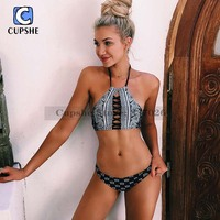 Cupshe 2016 New Arrival Hot Women Sight And Sounds Black Lace Up Halter Bikini Set