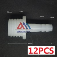 12 Pieces 8mm G1 2 Straight Connector Plastic Pipe Fitting Barbed With Thread Material PE Joiner