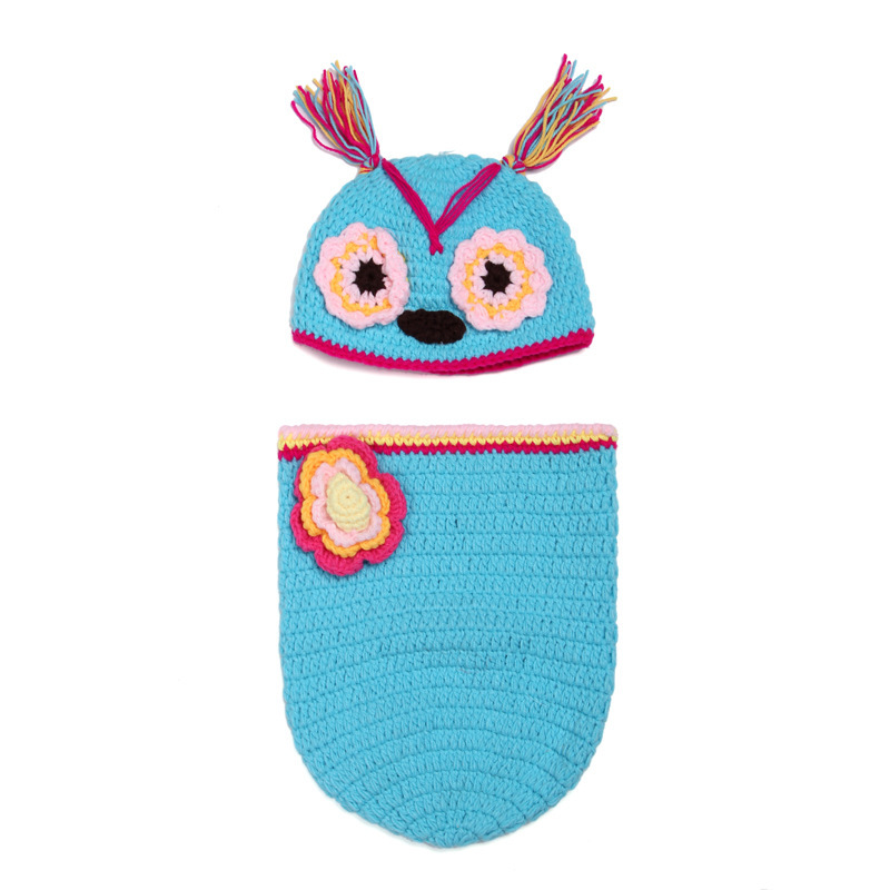 2pcs 1set Sleep Bag Owl Floral Photography accessories Handmade Knitted Newborn Infant Wamer Clothing Clothes Baby