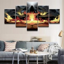 все цены на Canvas Print Poster Wall Art Picture 5 Pieces Demon Hunter Diablo III Reaper Of Souls The Wizard Painting Home Decor Boys Room онлайн
